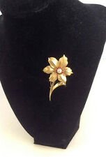 Boucher Narcissus Goldtone Metal W/ Rhinestones & Cultured Pearl Brooch/Pin