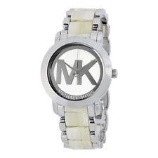 Michael Kors Women's Silver Tone Acrylic & Steel  MK Logo Dial 38mm Watch MK4304