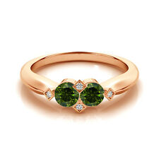 1.012 Cts Green VS2-SI1 2 Stone Diamond Solitaire Engagement Ring 14k Rose Gold