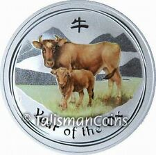 Australia 2009 Year of Ox Chinese Lunar Zodiac $1 Color Pure Silver 1 Ounce