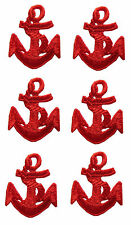 """Lot 6Pcs 1-1/2"""" Nautical Ship Red Anchor Embroidery Iron On Applique Patch"""