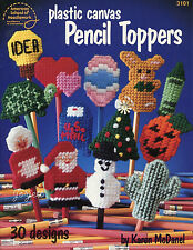 Pencil Toppers ~ 30 Holiday & Everyday Designs plastic canvas patterns OOP rare