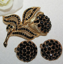 RARE CROWN TRIFARI SIGNED PIN AND EARRING SET WITH ALL BLACK STONES-STUNNING!!!
