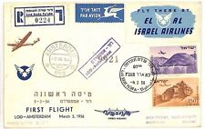 AZ168 1956 ISRAEL AIR Registered *Lod Sofo* FFC Amsterdam {samwells-covers}PTS