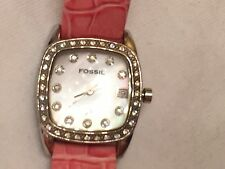 Fossil Women's Watch Pink Leather Band with Crystals, Mother Of Pearl Dial
