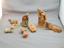 "7 Vintage Anri Carved Wood Nativity Figures 4.75"" Mary Joseph Jesus Ox"