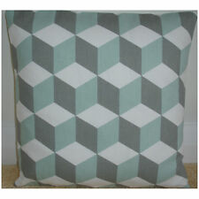 "18"" Cushion Cover Duck Egg And Grey Cubes 3D Cube Modern Geometric Retro"