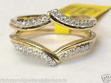 14k Yellow Gold Round Diamonds Ring Guard Wrap Insert solitaire enhancer Prong