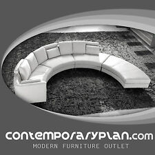 Contemporary White S Shaped Curved Leather Sectional Sofa - Ultra Modern Style