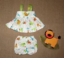 """Handmade Doll Clothes for 12"""" - 14"""" Baby Dolls - """"Off to the Zoo"""" Sun Dress Set"""