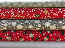 Fat Quarters Bundles Christmas 100% Cotton Fabric Silver Gold Red Festive Fox F9