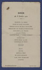 W45) MENU ANCIEN (Diner du 8 Octobre 1922)