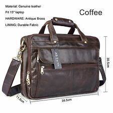 "874 1ST 16"" Vintage Leather Men's Coffee Briefcase Laptop Bag Messenger Handbag"