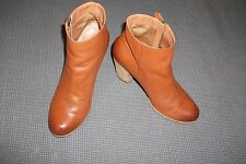 Bp Trolley Super Cute Brown Leather  ankle boots with outside zipper  SZ 7M