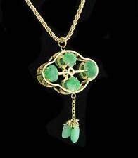 14k Solid Yellow Gold Green Dyed Jade Stone Dangle Charm Pendant - 4.0 grams