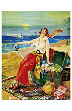 Pin Up Girl Poster 11x17 pirate princess treasure chest art deco flapper