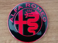 Alfa Romeo NEW GIULIA BLACK&RED emblem badge logo 74mm 147,159,Guilietta