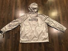 NWT Nautica Silver Reflective Pullover Hoodie Jacket Size XL Spellout Lil Yachty