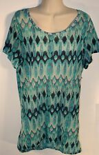 H&M Multicolored Blue Green Tunic Length Top Womens Size S