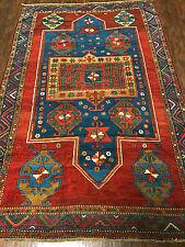 An Antique Gorgeous Double-Niche Fachralo Kazak Prayer Rug 5x8ft
