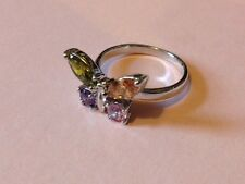 White Gold Filled Colourful Quartz Butterfly Dress Ring - Size R 1/2 - UK