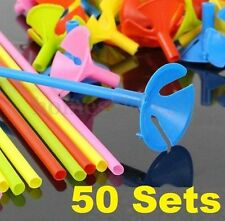 "50 SETs Plastic Balloon Holder Sticks Cup Wedding Party Decoration 10"" ~50 Sets~"