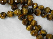 """AAA Quality 12mm Tiger's Eye Faceted Round Beads 15.5"""" Strand"""