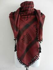 Burgundy Black Arab Shemagh Head Scarf Neck Wrap Cottton Palestine Arafat RD Red