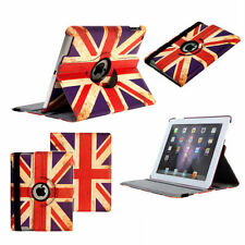 STYLISH RETRO VINTAGE GB UNION JACK FLAG 360° ROTATING LEATHER CASE iPAD 2 3 4