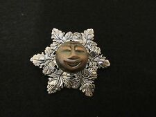 RARE STEPHEN DWECK MAN IN THE MOON SCARF CLIP UNUSED VTG BRONZE SILVER COLOR