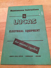 Lucas Electrical Vintage  Maintenance Manual   , Used OEM  Item.  24 Pages