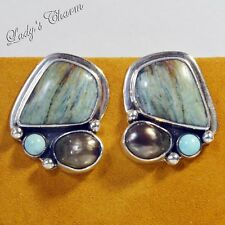 HE Echo of the Dreamer Mabe Pearl Gemstone Sterling Silver Earrings