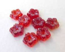 Vintage Bead Glass Flower Cabochon Ruby Red 8mm
