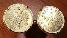 1879 Imperial Russian Double Eagle 3 Rubles Russia Gold Tone Coin Cufflinks!