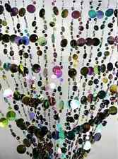 Large Panel Beaded Curtain Door hanger BLACK CHAMPAGNE Multi Color 3x6 Feet
