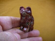 (Y-CAT-SIL-558) RED JASPER gem long haired CAT gemstone carving figurine cats