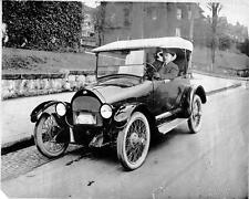 Old Photo. Man Driving Willys/Knight 1918 Overland Model 90 Automobile