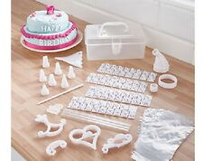 100 PIECE CAKE DECORATING KIT PIPPING ICING BAGS STENCILS LETTERS 8 NOZZLES CASE