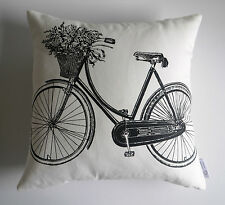 """Odessa"" Black & White Vintage French Provincial Cushion Cover Bicycle Script"