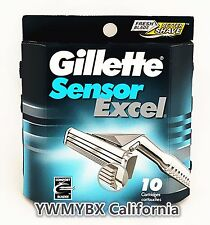 Gillette Sensor Excel 10 Cartridegs For Men, Brand New, Free Shipping. #014A