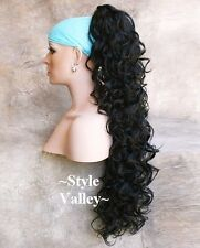 EXTRA LONG Black Ponytail Hair Piece Curly Extension Claw Clip in on Hairpiece