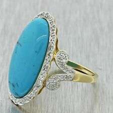 Vintage Estate 14k Solid White Gold Chunky Turquoise Diamond Cocktail Ring