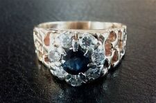 Men's Vintage Estate $4,000.00 14K Yellow Gold Saphire and Diamond Ring 0.88 Ct