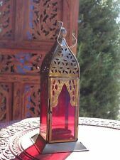 MOROCCAN IRON &GLASS LANTERN HANGING TEA LIGHT TEALIGHT HOLDER HOME & GARDEN