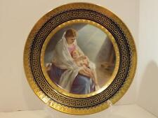 Antique Royal Vienna Cobalt Blue Gold Gilt Porcelain MADONNA CHILD Cabinet PLATE