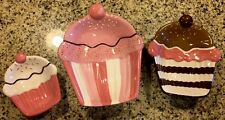S/3 CupCake Shape Serving Candy Dish CUPCAKE Cookie Jar Candy Cookie  Decor