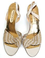 UK 4.5 / 37.5 Gold mesh leather vintage sandals/shoes - 1980s - Maria Elisa
