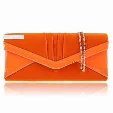 Stylish Orange Patent Suede Wedding Ladies Party Prom Evening Clutch Hand Bag