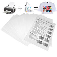 10x A4 T Shirt Transfer Paper Iron On Light Fabrics Heat Press Inkjet Print NEW