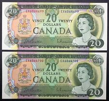 Lot of 2 Bank of Canada 1969 CONSECUTIVE UNCIRCULATED $20 Twenty Dollar Bills